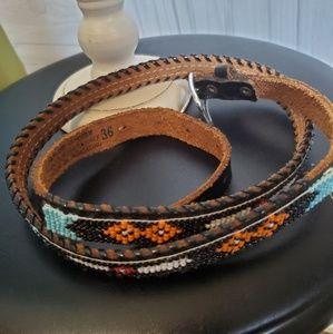 Vintage hand beaded genuine cowhide belt